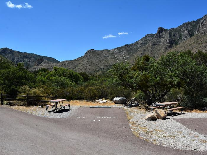 RV Campsite 33 is a paved, pull-in site with a picnic table on the left side of the spur.  This site is steps away from the Pine Springs trailhead.RV Campsite 33 is only steps away from the Pine Springs trailhead.