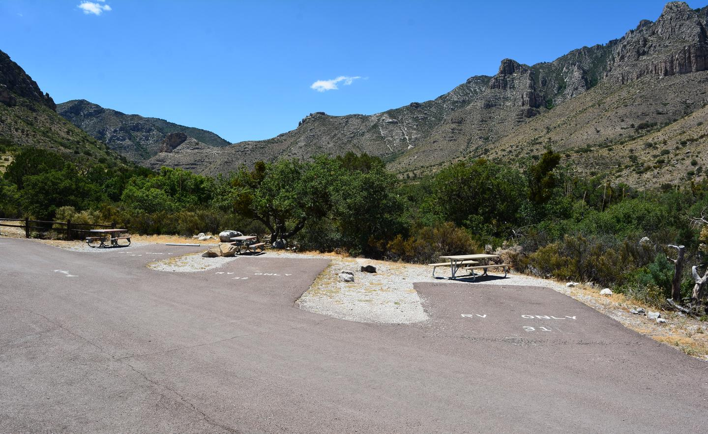 Overview of RV campsites 31, 32 and 33.  Each paved site has a picnic table and mountain views.Overview of RV campsites 31, 32 and 33.