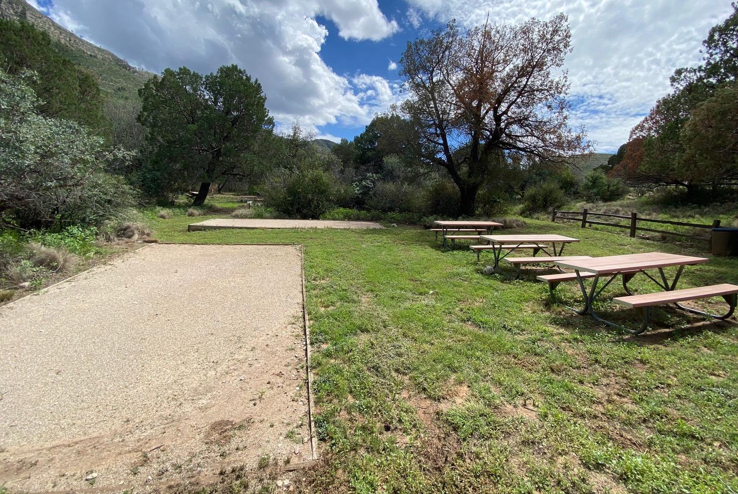 Dog Canyon Group site has two large tent pads and three picnic tables.  The site is surrounded by vegetation and a mature trees.Dog Canyon Group Campsite.