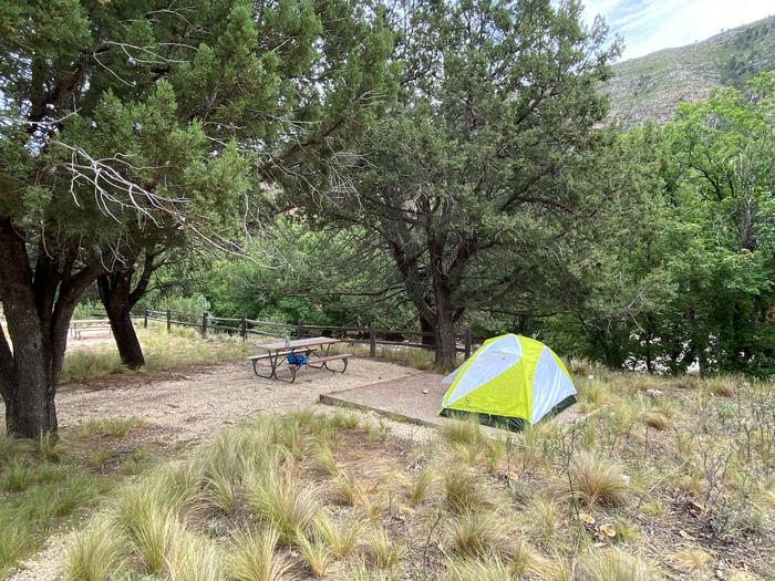 Tent campsite #5, the site has trees surrounding it to provide shade.  There is a two-person tent displayed on the fine gravel tent pad.Tent campsite #5, with a two-person tent displayed on the fine gravel tent pad