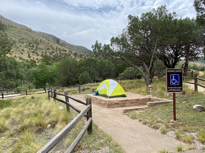 Tent campsite #7 is designed for accessibility.  The tent pad is elevated and the path leading to the site is paved.