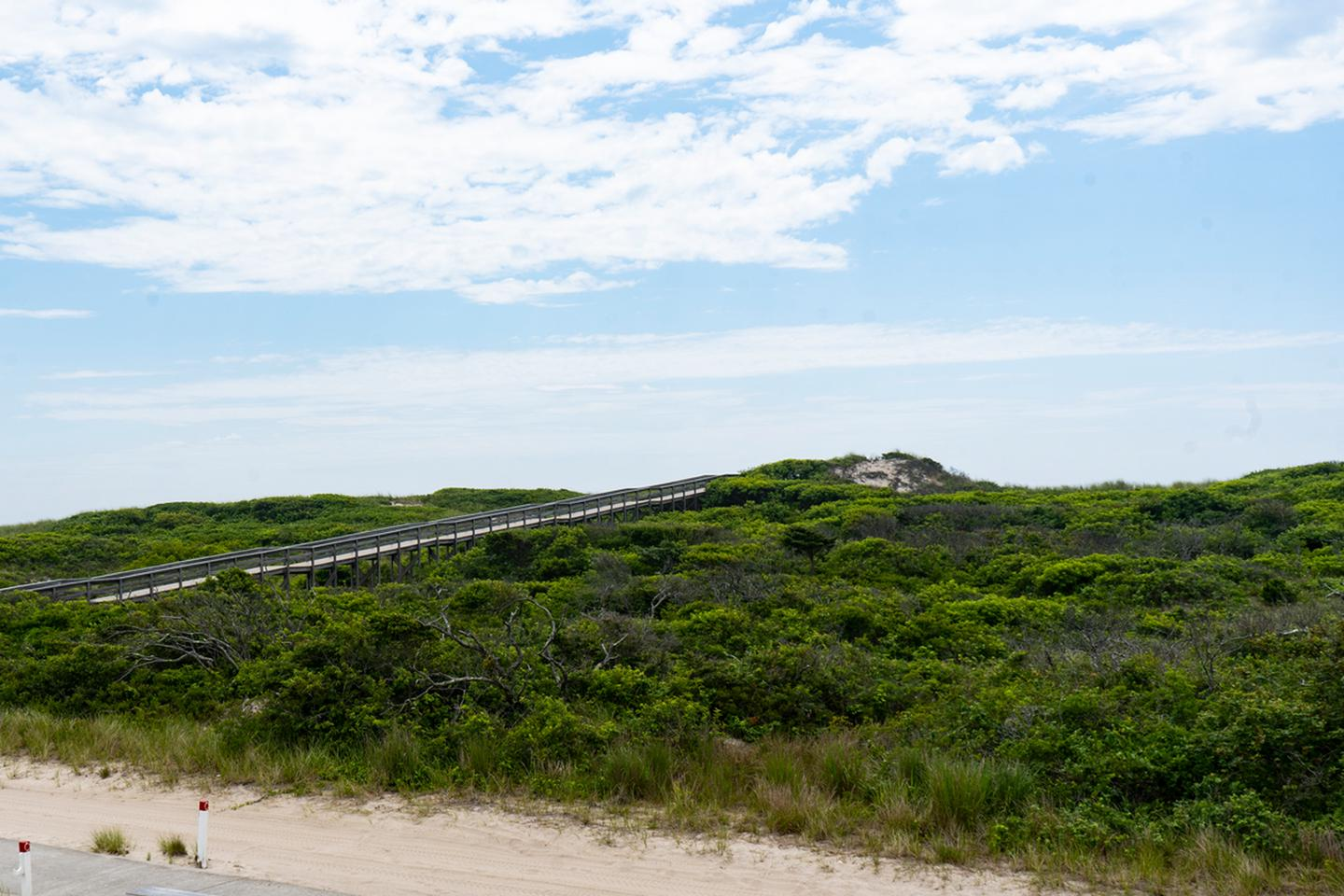 Overlook of a primary dune from a beach house deck.View from the front deck.