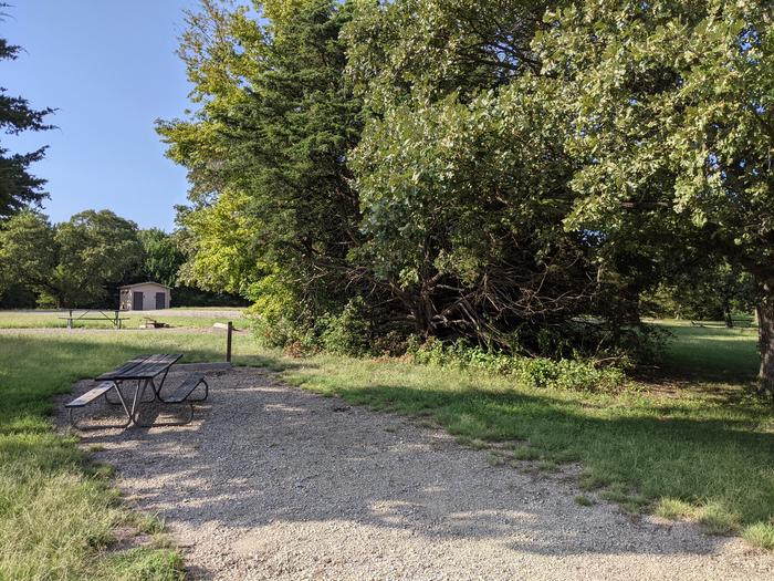 A photo of Site 11 of Loop A at Timber Creek Park with Picnic Table, Fire Pit, Shade