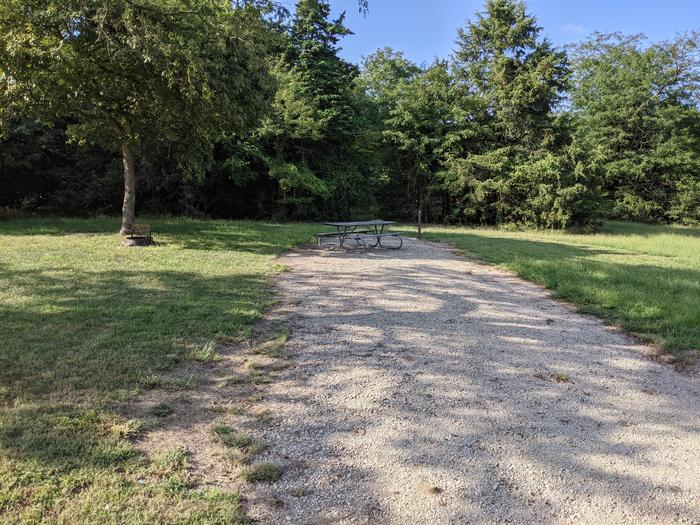 A photo of Site 16 of Loop A at Timber Creek Park with Picnic Table, Fire Pit, Shade