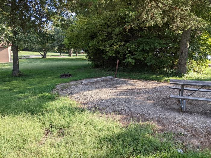 A photo of Site 9 of Loop A at Timber Creek Park with Picnic Table, Fire Pit, Shade