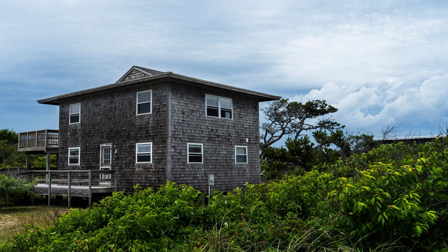 Front angle shot of beach house.A view of the Bayberry Dunes house from the walk up.