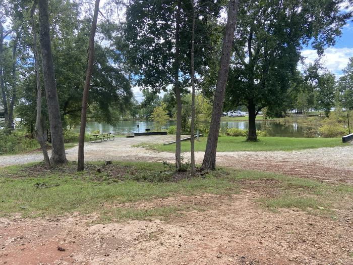A photo of Site 48 of Loop SPRINGFIELD  at SPRINGFIELD with Picnic Table, Electricity Hookup, Fire Pit, Shade, Tent Pad, Waterfront, Lantern Pole, Water Hookup