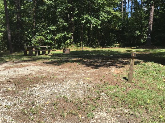 A photo of Site 08 of Loop Brickhouse at Brick House Campground (SC) with Picnic Table, Fire Pit, Shade, Lantern Pole
