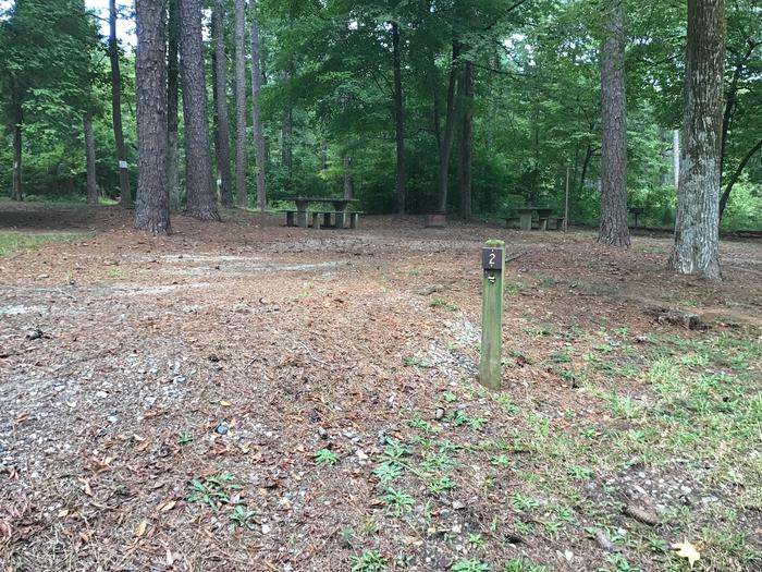 A photo of Site 02 of Loop Brickhouse at Brick House Campground (SC) with Picnic Table, Fire Pit, Shade, Lantern Pole