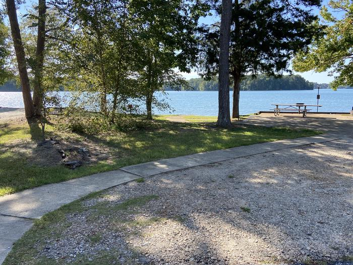 A photo of Site 42 of Loop SPRINGFIELD  at SPRINGFIELD with Picnic Table, Electricity Hookup, Fire Pit, Shade, Tent Pad, Waterfront, Water Hookup