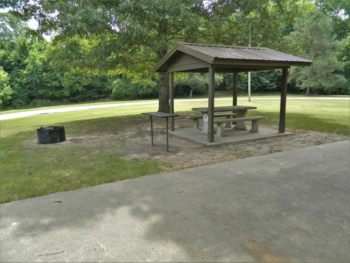 Wilbur D. Mills 10 Picnic Shelter + Fire Pit
