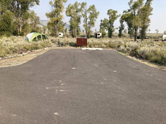 Site 62, loop ASite has picnic table, bear box for food storage and fire ring with cooking grate.