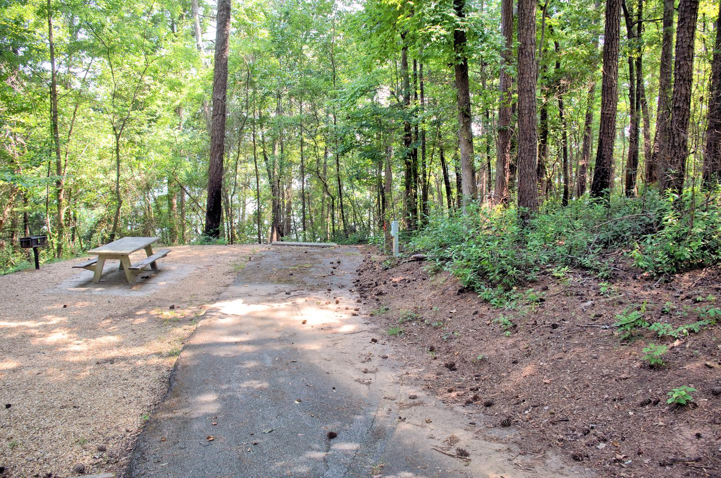 Driveway slope, awning-side clearance.Sweetwater Campground, group campsite 28i.