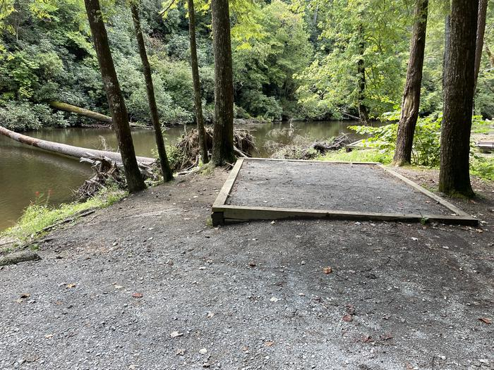 A photo of Site A07 of Loop A at ABRAM'S CREEK CAMPGROUND with Shade, Tent Pad, Waterfront