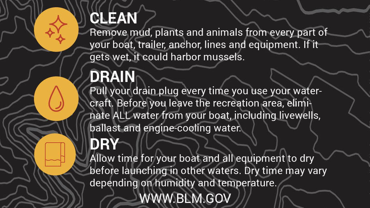 Clean, Drain, & DryCLEAN, DRAIN, DRY boats and any other recreational equipment that comes in contact with water. Never dump unwanted bait, worms and fish parts or other organisms. For more information visit stopaquatichitchhikers.org
