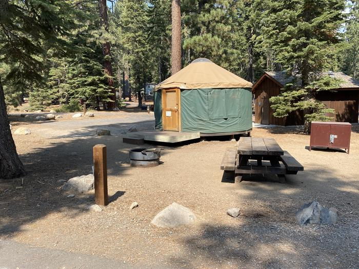 A photo of Site 080 of Loop Yurts at WILLIAM KENT CAMPGROUND with Picnic Table, Fire Pit, Food Storage