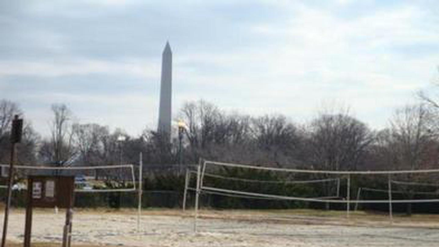 The Parkway Drive Volleyball Courts feature a View of the Washington Monument