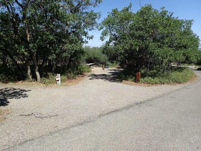 Drive-up view of Campsite A-034 showing entrance to pull-through site