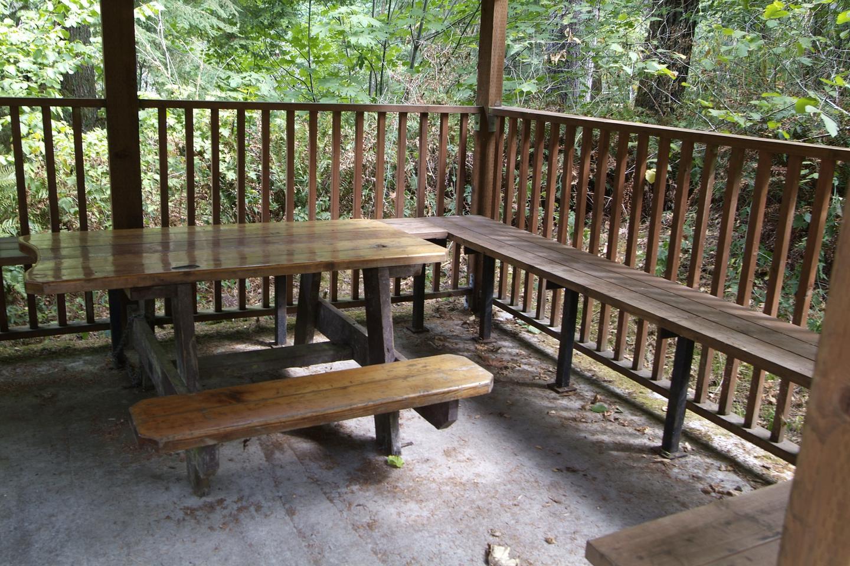 ADA table in day use gazebo.Table in gazebo.