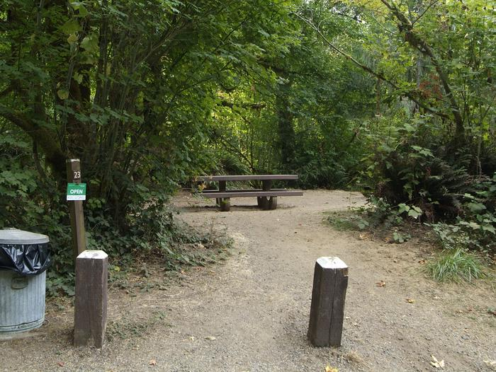 Camp site 23: Small site with Whittaker Creek access. Table, fire ring, and tent pad provided. Limited parking space.