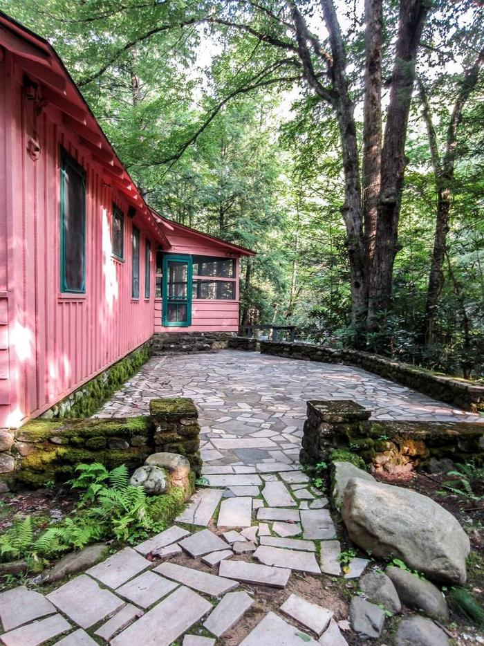 Patio of Spence CabinPatio located in rear of facility showing screened porch and patio