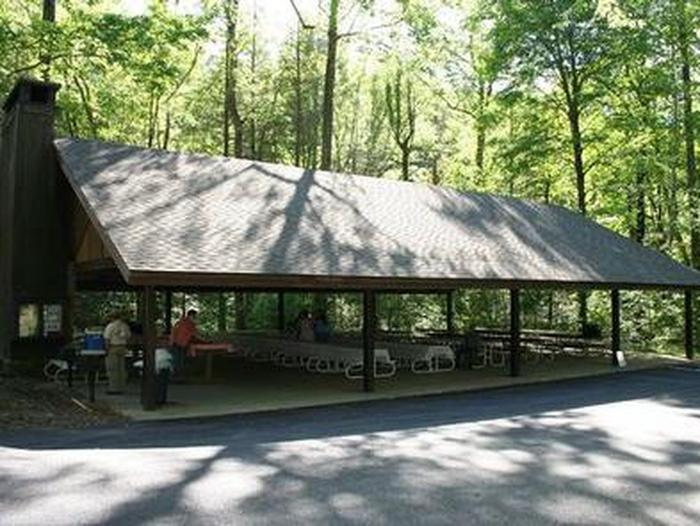 Twin Creek Picnic PavilionPavilion with picnic tables and fireplace location