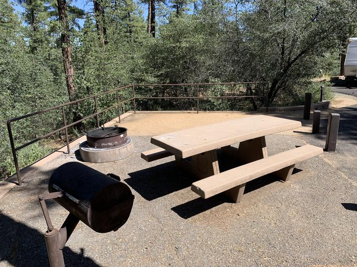 A photo of Site 35 of Loop H at LYNX CAMPGROUND with Picnic Table, Fire Pit, and grill. On street, parallel parking. No stairs.