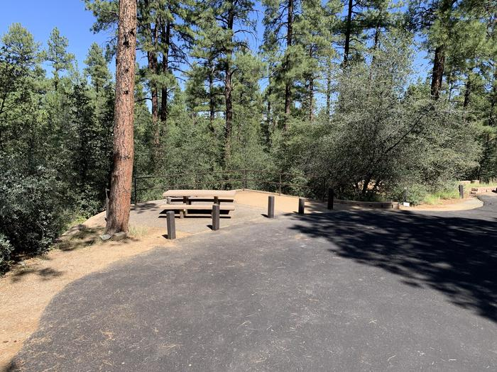 A photo of Site 35 of Loop H at LYNX CAMPGROUND with Picnic Table visible. Main view is of on street, parallel parking.