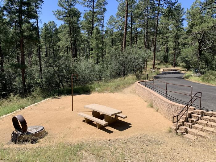 A photo of Site 16 of Loop D at LYNX CAMPGROUND with Picnic Table, Fire Pit, Lantern Pole. A photo of Site 16 of Loop D at LYNX CAMPGROUND with Picnic Table, Fire Pit, Lantern Pole. On-street parallel parking with 6 stairs to campsite.