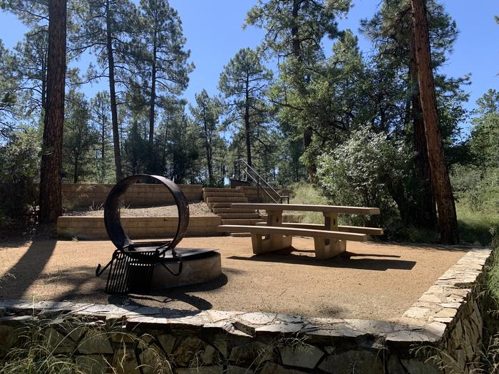 A photo of Site 14 of Loop C at LYNX CAMPGROUND with Picnic Table, Fire Pit with 8 steps up to curbside on-street parking.