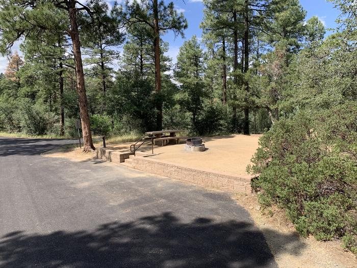 A photo of Site 28 of Loop G at LYNX CAMPGROUND with Picnic Table, Fire Pit with curbside parking and 5 steps up to campsite. A photo of Site 28 of Loop G at LYNX CAMPGROUND with Picnic Table, Fire Pit with curbside parking and 4 steps up to campsite.