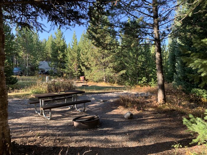 A photo of Site 1 of Loop 1 at Signal Mountain Lodge Campground with Picnic Table, Electricity Hookup, Fire Pit, Shade, Food Storage, Tent Pad