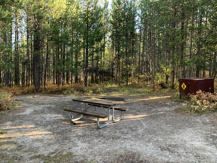 A photo of Site 22 of Loop 1 at Signal Mountain Lodge Campground with Picnic Table, Electricity Hookup, Sewer Hookup, Fire Pit, Shade, Food Storage, Tent Pad