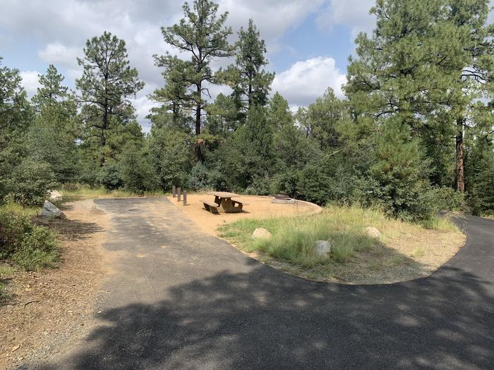 A photo of Site 25 of Loop F at LYNX CAMPGROUND with Picnic Table, Fire Pit with back in driveway. Note; if backing in, RV door and awning will face opposite the campsite.