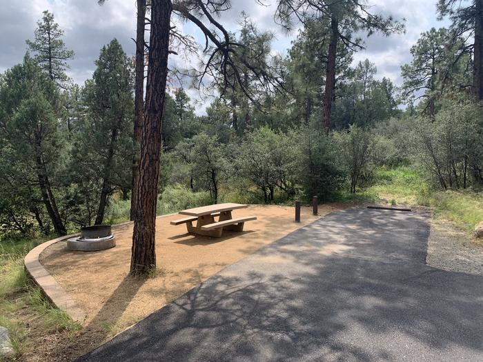 A photo of Site 24 of Loop F at LYNX CAMPGROUND with Picnic Table, Fire Pit amd back-in parking.
