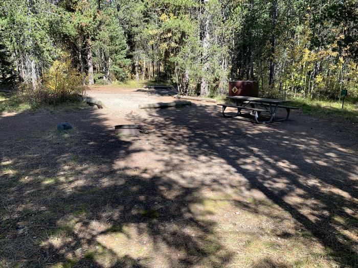 A photo of Site 22 of Loop Loop 2 at Lizard Creek Campground with Picnic Table, Fire Pit, Shade, Food Storage