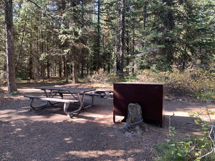 A photo of Site 42 of Loop Loop 2 at Lizard Creek Campground with Picnic Table, Fire Pit, Shade, Food Storage