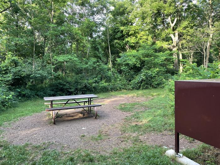 A photo of Site A072 of Loop A Loop at Loft Mountain Campground with Picnic Table, Food Storage