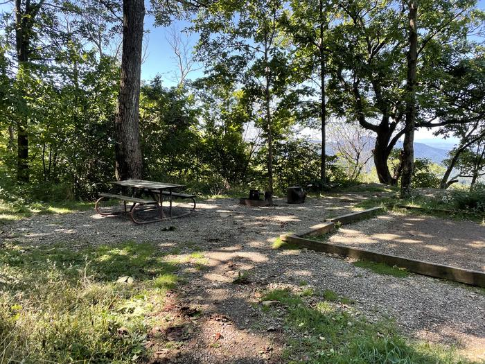 A photo of Site 020 of Loop Lower Loop at Loft Mountain Campground with Picnic Table, Fire Pit, Tent Pad
