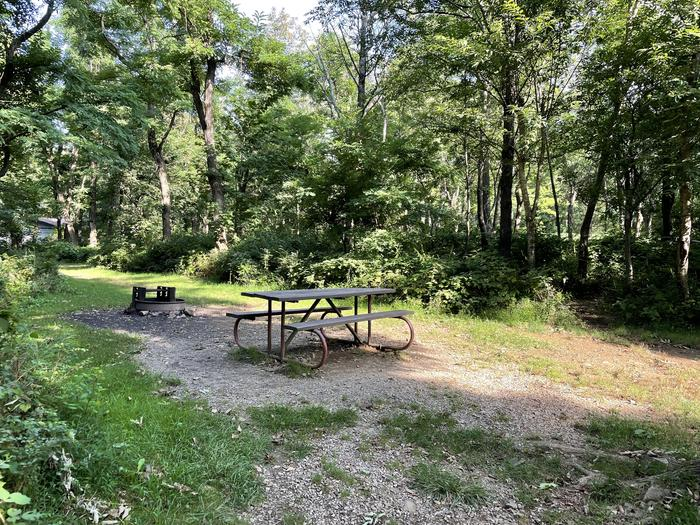 A photo of Site B091 of Loop B Loop at Loft Mountain Campground with Picnic Table, Fire Pit