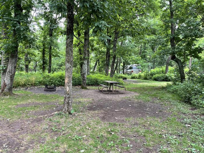 A photo of Site B082 of Loop B Loop at Loft Mountain Campground with Picnic Table, Fire Pit