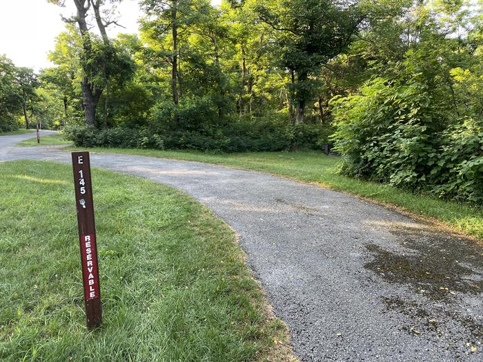 A photo of Site E145 of Loop E Loop at Loft Mountain Campground with No Amenities Shown