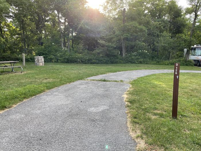 A photo of Site D126 of Loop D Loop at Loft Mountain Campground with No Amenities Shown
