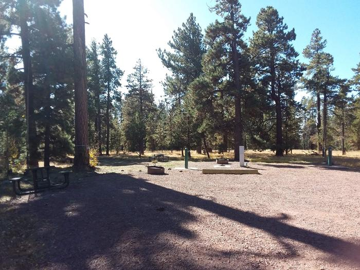 Site 77 & 78 with hookups for water and electricity, as well as parking, tables, and fire rings.