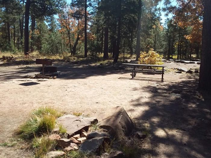 Site 27 has a grill, campfire, and table area amongst a tree clearing. Campsite contains both campfire ring and grill, along with a picnic table.