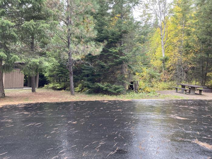 A photo of Site 034 of Loop POND at SWAN LAKE CAMPGROUND with Picnic Table, Fire Pit