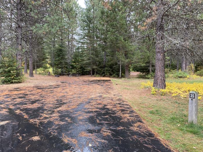 A photo of Site 035 of Loop POND at SWAN LAKE CAMPGROUND with Picnic Table, Fire Pit