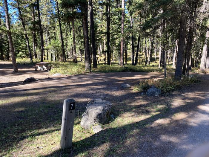 A photo of Site 007 of Loop B - LARC at HOLLAND LAKE CAMPGROUND with Picnic Table, Fire Pit