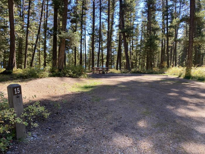 A photo of Site 015 of Loop B - LARC at HOLLAND LAKE CAMPGROUND with Picnic Table, Fire Pit