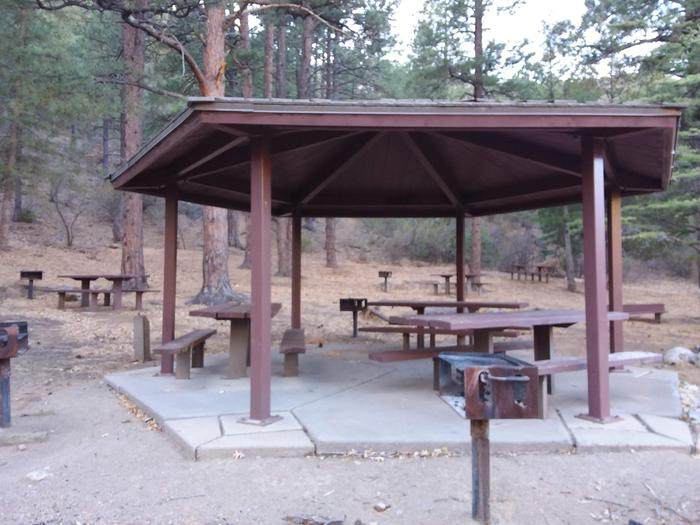 Picnic area with picnic tables and standing camp grills.